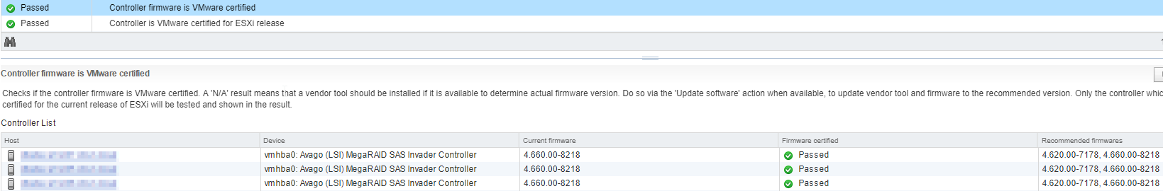 vSAN Health and Controller firmware N/A | Virtual Allan